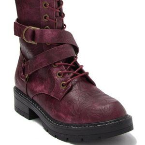 Seven7 Cardi B Wine Combat Boot New with Tag